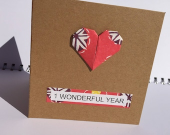 Paper anniversary card - 1st wedding anniversary - first anniversary card -anniversary card - 1 year anniversary - wedding anniversary card