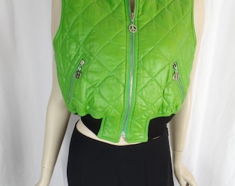 80s MOSCHINO Jeans Mod neon green shiny quilted puffa vest/ peace symbol zipper pulls: I40= US 6-8 woman