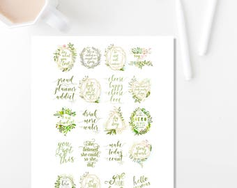 Printable Planner Stickers, Printable Stickers, Botanical Planner Supplies, Printable Planner Quotes Erin Condren Vertical
