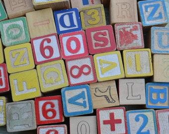 Vintage Assorted Random Alphabet Letters Childrens Kids Toy Wood Blocks Lot of 25