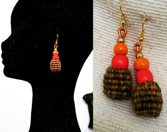 Beaded Cocoon/Bantu knot Yarn wrapped earrings - Honeypot