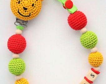 Winnie pooh pacifier etsy dummy holder personalized pacifier clip with winnie the pooh personalized baby gift baby negle Images