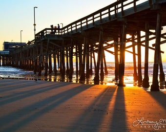 "Newport Beach Print | ""Newport Beach Pier Sunbeams"" 