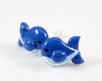Cute Blue Whale Earrings - Polymer Clay Post Earrings - Whale Studs - Whale Jewelry - Kawaii Whale - Polymer Clay Jewelry - Animal Earrings