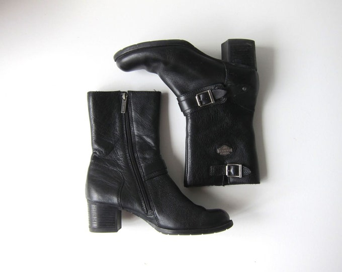 Harley Davidson Biker Boots Tall Black Leather Zip Up Motorcycle Combat Engineer Ankle Boots Chunky Moto Grunge Buckled Boots Womens 8.5 / 9