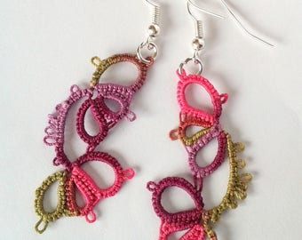 Pink spring earrings, Burgundy and green