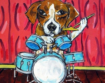 25% off beagle tile - beagle art - Beagle Playing Drums picture Dog Art Tile coaster gift - beagle gifts - coaster