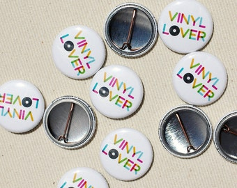 Vinyl Lover Pinback Button - Music One Inch Badge by Oh Geez Design