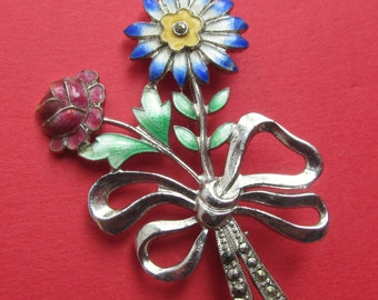 Sterling Enamel Vintage Flower Bouquet Brooch Pin