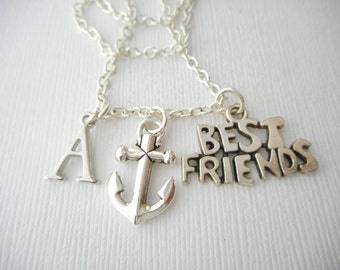 Best Friend, Anchor- Initial Necklace/ Love & Friendship, Gift Ideas, Forever, Birthday Gift, bff jewelry, Personalized Friend, gift for bff
