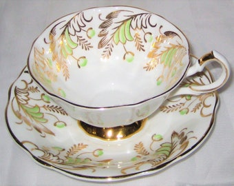 Queen Anne - Golden Filigree with Green Buds - Fancy Teacup Set