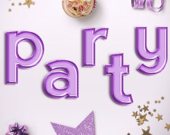 PARTY IS HERE! Lower Case Violet Balloon Letters Clipart, Celebration Balloons Font, Violet Foil Balloons Alphabet, Party Letters, BUY5FOR8
