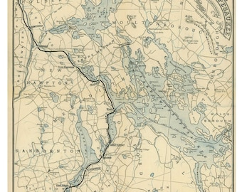 Lake Winnipesaukee - 1885 Railroad Map by Boston & Lowell Railroad   Reprint