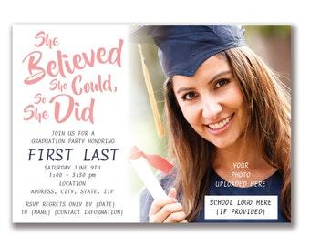 Customizable Believe Graduation Party Invitation [Digital File ONLY]