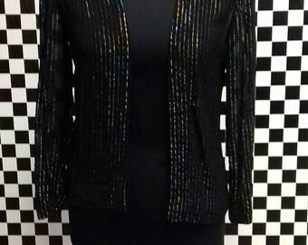 Sheer black vintage bolero style jacket with metalic glitter stripes -  size medium.