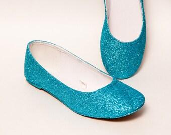 Glitter - Malibu Blue Ballet Flat Slipper Shoes