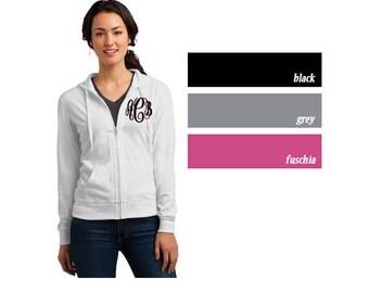 Monogrammed Zip Up Jacket | Bridesmaid Sweatshirt | Lightweight Full Zip Hooded Sweatshirt | Monogram Hooded Sweatshirt |Bridal Party Hoodie