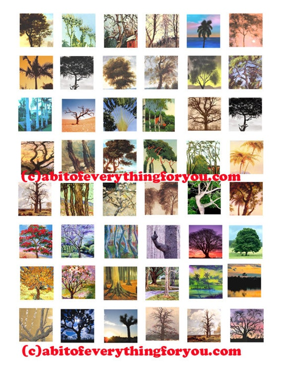 trees landscapes paintings pictures collage sheet clip art digital download 1 inch squares graphics images diy craft pendant printables