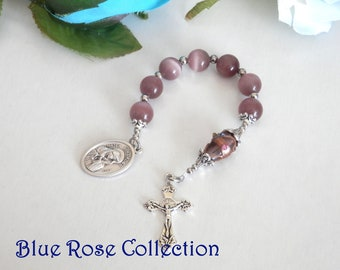 Chaplet of the Seven Sorrows of the Blessed Mother Mary, Seven Sorrows of Blessed Virgin Mary, Purple Cat's Eye Chaplet, Catholic Devotion