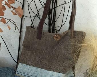 Handmade bag/purse with handwoven cotton fabric #2