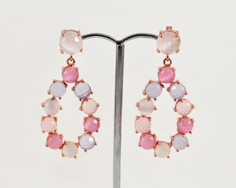 Silver earrings with pink gold and quartz bath