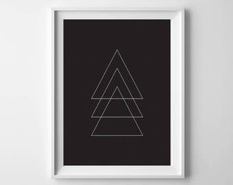 Triangle Geometric Printable Art, Black Background, 8x10, 4:5 Ratio, Modern Wall Art, Instant Download, Digital Print Printable Art