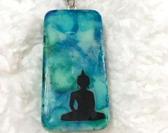 Painted Buddha Domino Necklace
