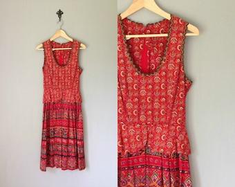 Vintage BOHEMIA Dress • 1970s Clothing • 70s Red Dirndl Folk Print Eastern European Oktoberfest Outfit Leiderhosen • Women Small Medium