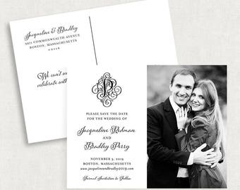 Monogram Save the Date Postcards, Black and White Save the Date Postcards, Calligraphy Save the Date Postcards, Printable Save the Dates