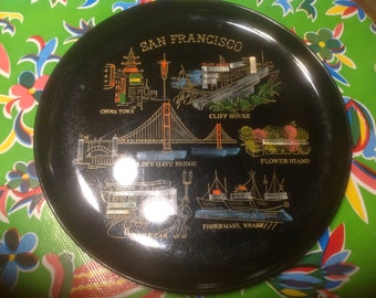 Vintage black plastic San Francisco souvenir platter- EFCCO, Japan