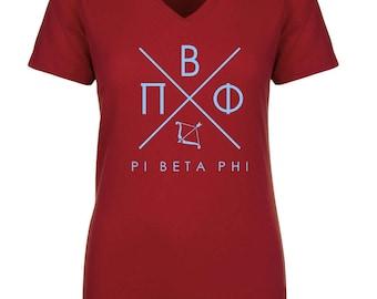 Pi Beta Phi Infinity V-Neck  Shirt - Light Blue Print (unless noted otherwise)