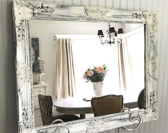 Distressed Black and White Mirror, French Rustic Mirror