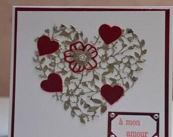 Engraved heart Valentine card
