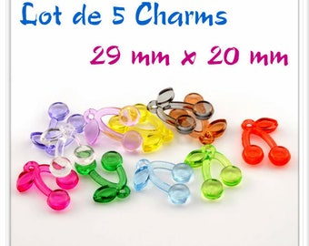 Set of 5 Charms mixed colors acrylic cherry charms