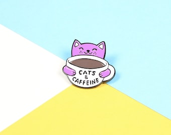 BACK IN STOCK! // Cats & Caffeine Enamel Pin with clutch back // lapel pins, cats rule, coffee cup pin