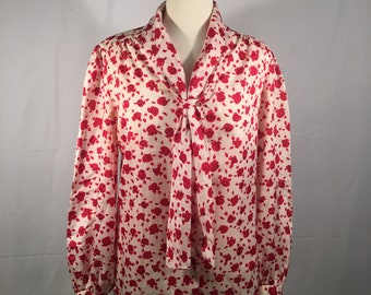 Vintage 70s JUDY BOND Red Secretary Blouse Size 12