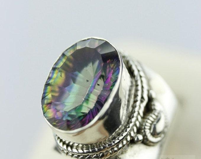 Size 5.5 VINTAGE FILIGREE 16 Carat MYSTIC Topaz (Nickel Free) 925 Sterling Silver Ring & Free Worldwide Express Shipping r387