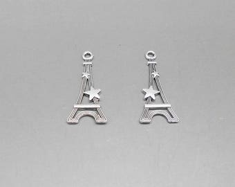 2 29 x 13 mm antique silver Eiffel Tower charms