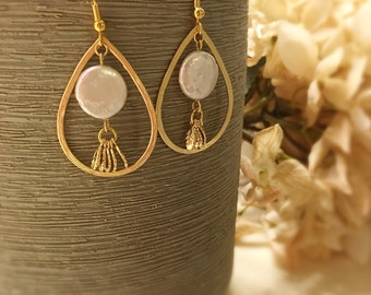 Gold teardrop earrings gold dangle earrings pearl earrings leaves earrings