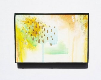 Glisten (1 of 2) - Abstract Art - Mixed Media - 4 x 6 Watercolor Paper - Frame Included