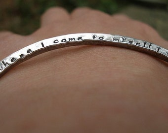 Two Sided Custom Personalized Secret Message Bangle with Rustic Hammered Finish in Sterling