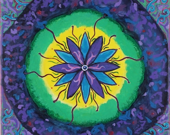 "Psychedelic Flower Painting Purple Wall Art Abstract Painting Original Acrylic on Canvas Hippie 10"" X 10"""