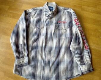 Men's Western Shirt Wrangler plaid shirt Men's size Large Rodeo