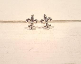 Fleur de Lis  Earrings - 925 Sterling Silver - Stud earrings or Hanging earrings (2 options)