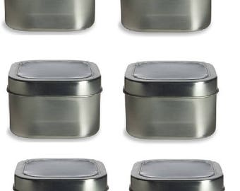 12 oz Clear Top Square Tins- Set of 6