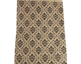 TAX SEASON Stock up 100 Pack 5 X 7 Inch kraft Color Damask print Flat Paper Merchandise Bags
