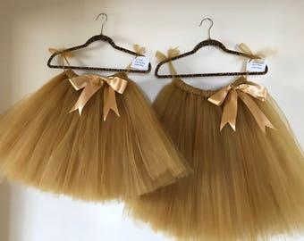Flower girl tutu, gold tutu, tutu skirt, Christmas wedding tutu, tulle skirt,  bridesmaid tutu, floor length tutu, ballet tutu, grey tutu