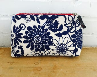 Navy Wild Garden Makeup Bag