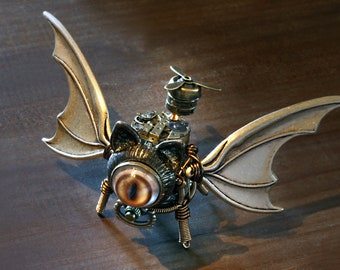 Steampunk Winged Cat Sculpture