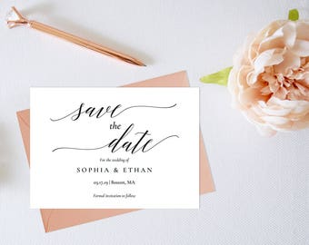 Save the Date Template,Save the Date Printable,Elegant Save the Date,Calligraphy Save the Date,Modern Save the Date,PDF Instant Download